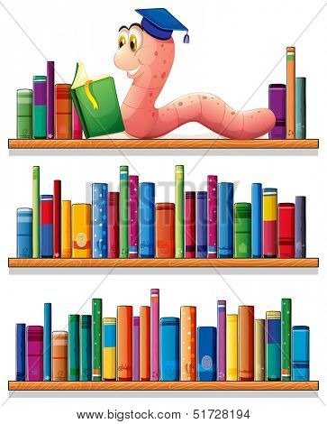 Illustration of an earthworm reading at the top of the bookshelves on a white background