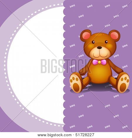 Illustration of a stationery with a brown teddy bear