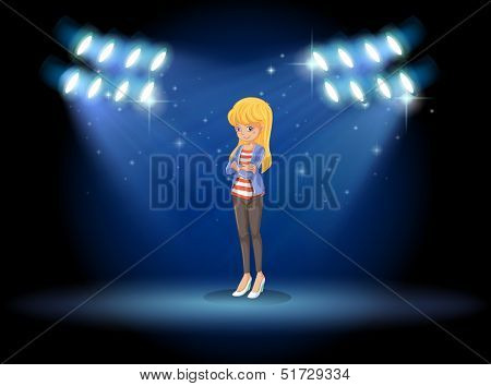 Illustration of a lady standing in the middle of the stage with spotlights
