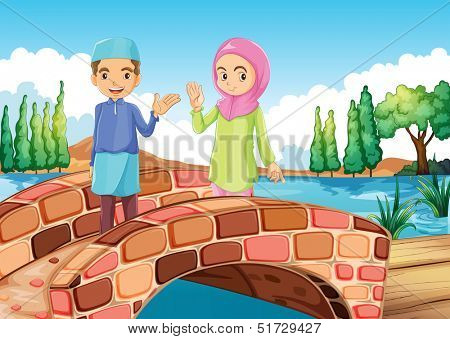 Illustration of a Muslim couple waving at the bridge