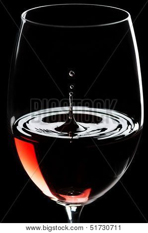 Red Wine Drips In A Wineglass