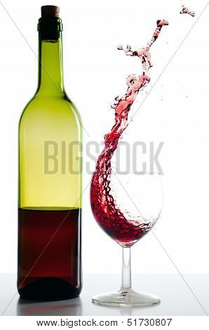 Red Wine Bottle And Red Wineglass Splash