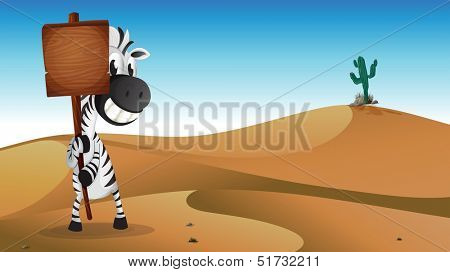 Illustration of a zebra holding the empty signboard at the desert