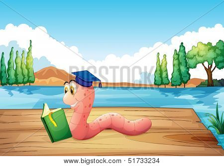 Illustration of a worm reading a book near the pond