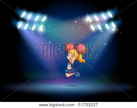 Illustration of a stage with a cute cheerdancer performing at the center
