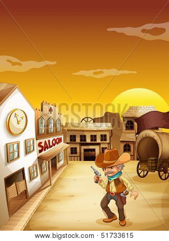 Illustration of an old cowboy holding a gun outside the saloon