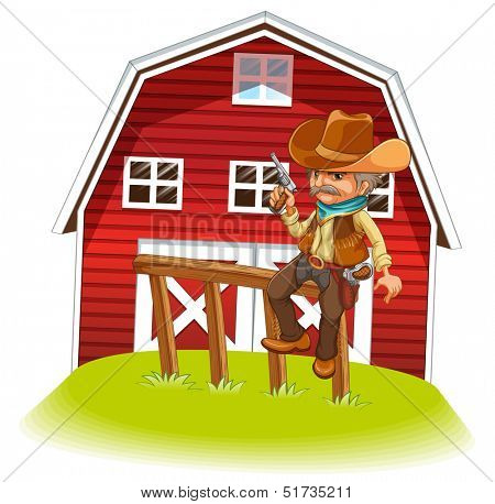Illustration of a cowboy holding a gun sitting on a wood in front of the barnhouse on a white background