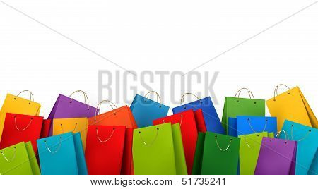Background With Colorful Shopping Bags. Discount Concept.