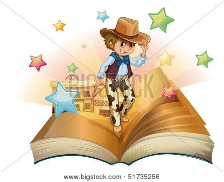 Illustration of a book with a young cowboy in front of a saloon bar on a white background,