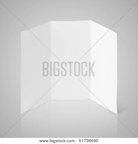 Blank Folded Flyer On Gray