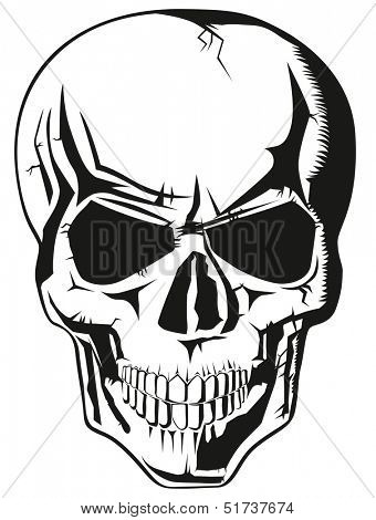 evil human black skull for halloween