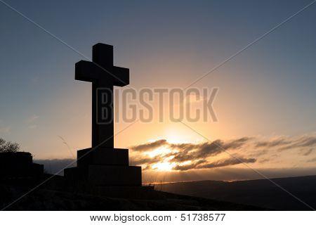 Cross Gravestone Silhouette