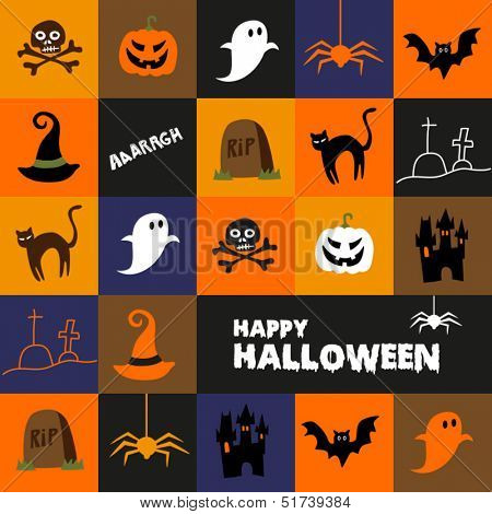 Colorful background with pictures of scary Halloween symbols