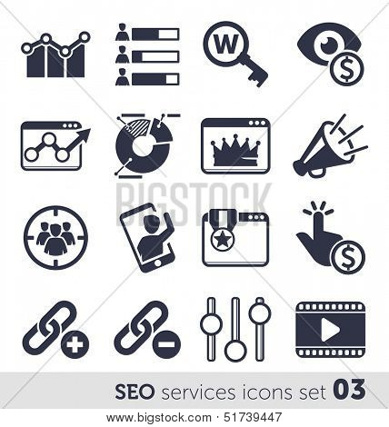 SEO services icons set 03 MONO