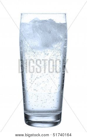 Glass With Mineral Water Before White