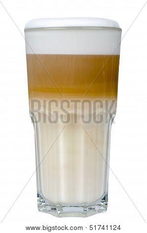 Latte Macchiato In A Glass Isolated