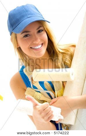 Blonde Girl And Painting Tools