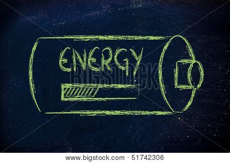 Battery With Energy Progress Bar Loading