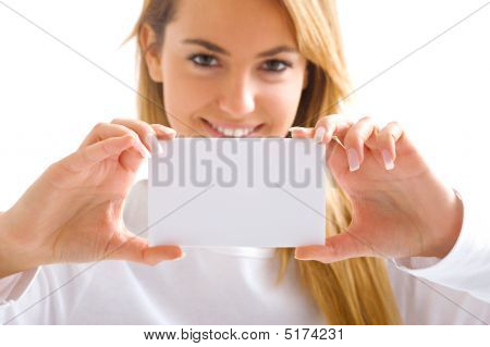 Young Blond Girl With Withe Card