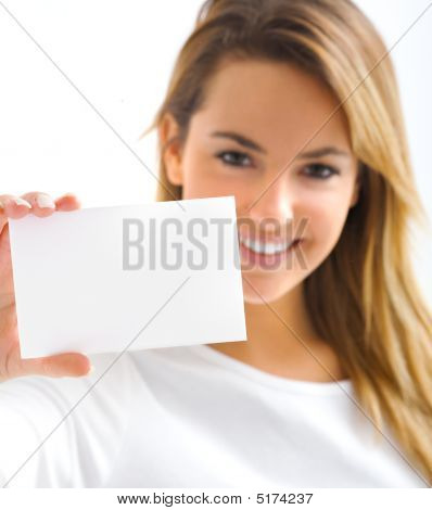 Girl With Withe Card