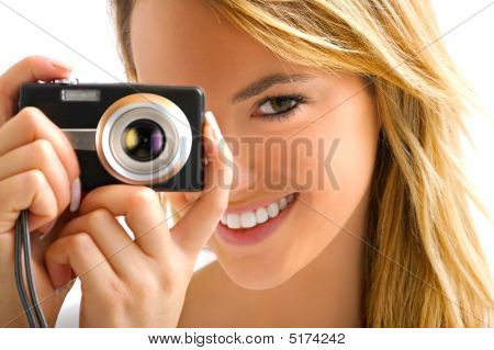 Young Blond Girl With Camera