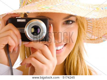Blond Girl Portrait With Camera