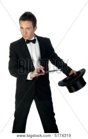 Magician With Wand And Hat