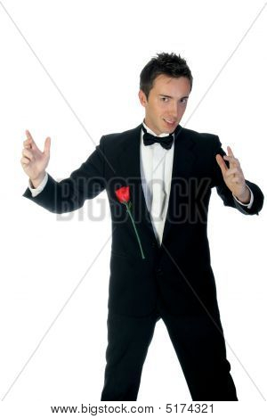 Magician With Flying Rose