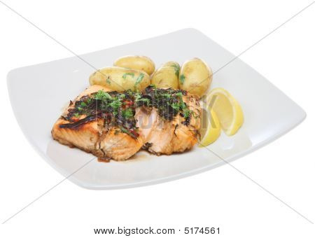 Salmon Steak Dinner