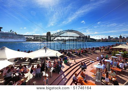 Residents and tourists enjoy Sydney harbour