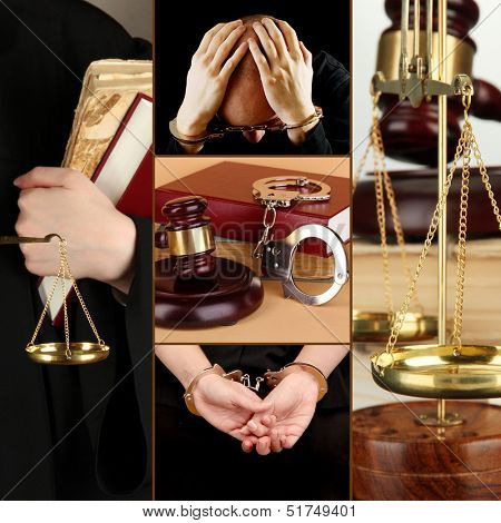 Conceptual collage of litigation
