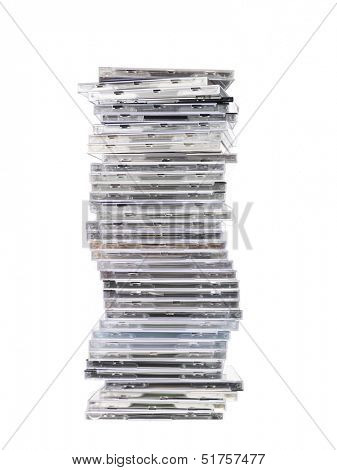 Big Stack of cd`s isolated on white background