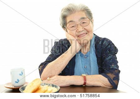 Relaxed old woman