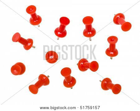 Red Pushpins isolated on white background