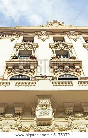 France, Cote d'Azur, in October 2013. Architectural detail of an ancient French city Antibes