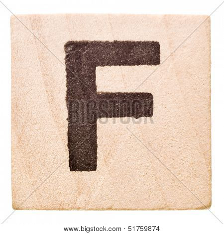 Block with Letter F isolated on white background