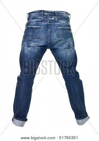 Worn blue jeans isolated on white background