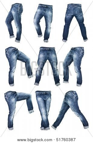 Collage of Worn blue jeans isolated on white background