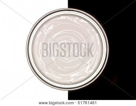 Paint can on black and white background