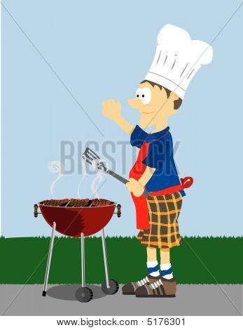 Man Grills Food Outside
