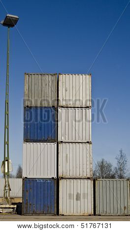 Cargo Containers towards blue sky