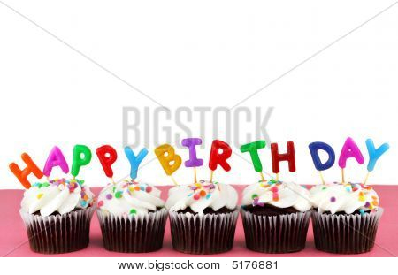Happy Birthday Cupcakes With Candles And White Background