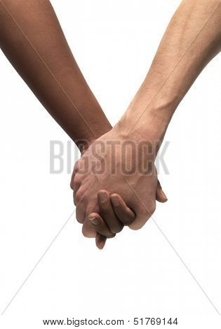 Black and White hand isolated