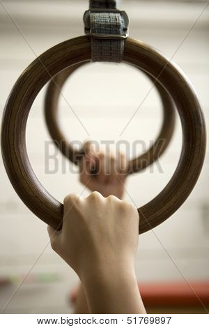 Human hanging in Gymnastic Rings