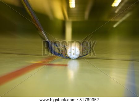 Close up of a Floorball situation