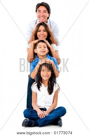 Happy family having fun - isolated over a white background