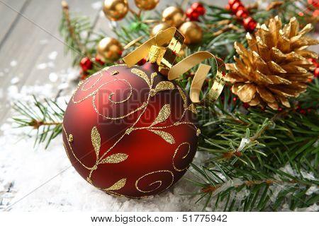 Christmas Composition With Christmas Ball And Decoration