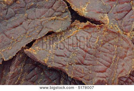 Close view of beef jerky