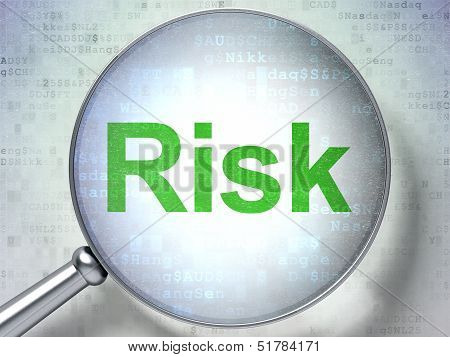 Finance concept: Risk with optical glass