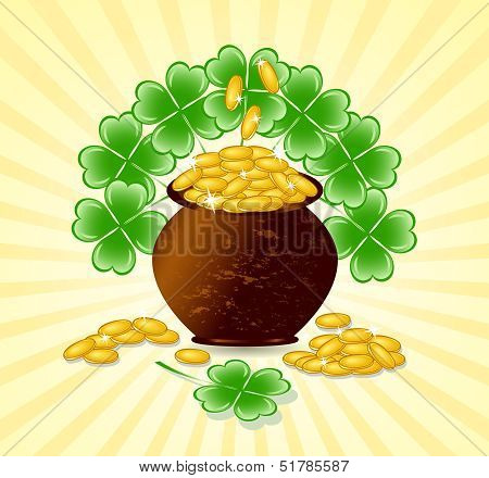 Vector Illustration Of A  St. Patrick Day Theme With Pot Of Gold Coins, Shamrocks On Sunny Backgroun